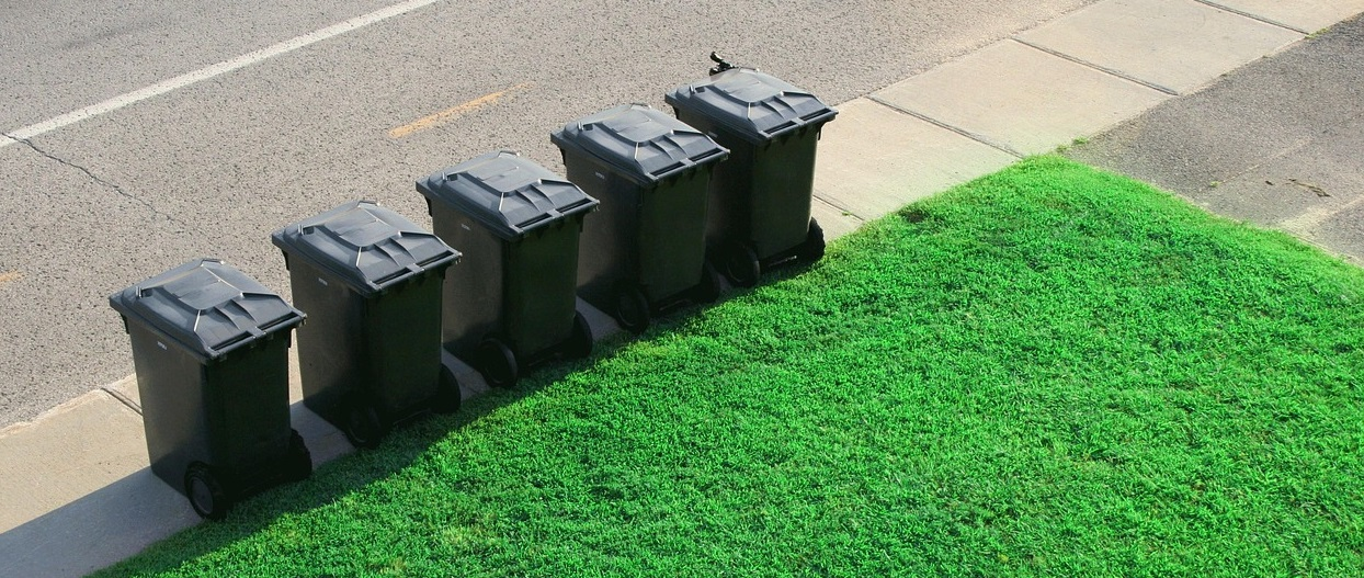 rubbish bins along the pavement
